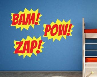 Comic Book Super Hero Sound Effect Burst Vinyl Decals / Stickers (set of 3) Zap! Pow! Bam!