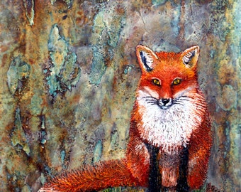 Fox on my Mind: Encaustic Art Giclee Print