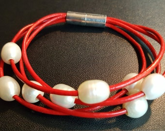 Red Leather Pearl Bracelet