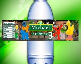 Sesame Street water bottle labels, Sesame Street birthday party printable, printable water bottle labels