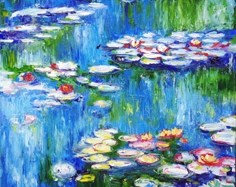 Waterlilies, copy of Claude Monet, Oil Painting on cardboard. Colorful painting. Impressionism 40 x 40 cm (15,7 x 15,7  in)