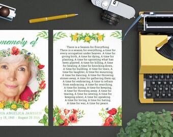 Florist In Memorian Card Template