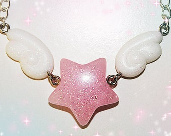 Pastel Pink Winged Star Necklace