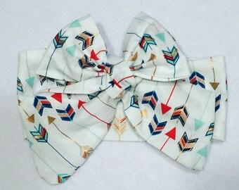 Multi-Colored Arrows Headwrap Headband Bow