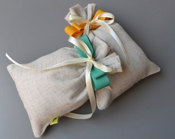 Wedding favor box-mixed bag unbleached linen-aquamarine-tape