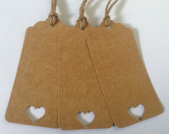 Favor Tag/Favour Tag/Gift Tag. Heart Kraft Tag. Pack of Twelve.