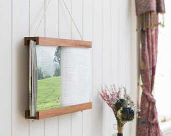 Book Frame, Dark Wood, Reclaimed Wood, Wall Art, Wall Hanging, Recipe Book Holder, Shelf, Book, Photo Frame, Photo Album, Frame, Hardwood