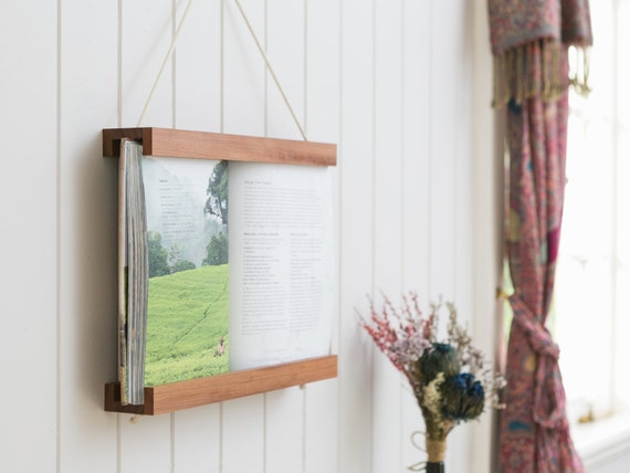 Book Frame, Dark Wood, Reclaimed Wood, Wall Art, Wall Hanging