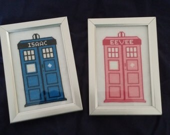 Personalised Doctor Who TARDIS Cross Stitch