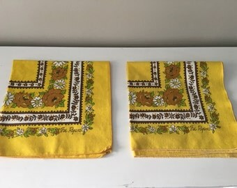 Vintage Cloth Napkins by The Ryans Yellow and Brown Florals
