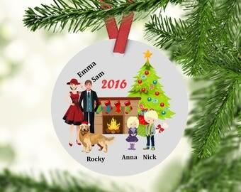 Custom family golden retriever ornament-Personalized Christmas Ornament-Golden Retriever Ornament- family ornament - golden retriver