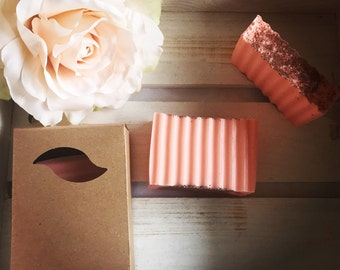 Handcrafted Soap topped with Apricot Seeds - Vanilla Sandalwood