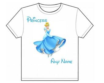 Personalised Kids Disney Princess Cinderella T Shirt
