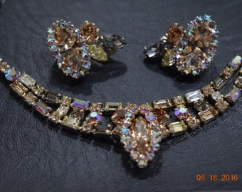 Vintage rhinestone earrings and necklace