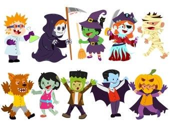Halloween clipart Costume clipart Halloween kids clipart Trick or Treat Halloween Graphics