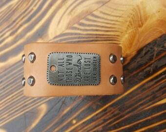 Handmade Wanderlust JRR Tolkien leather cuff bracelet