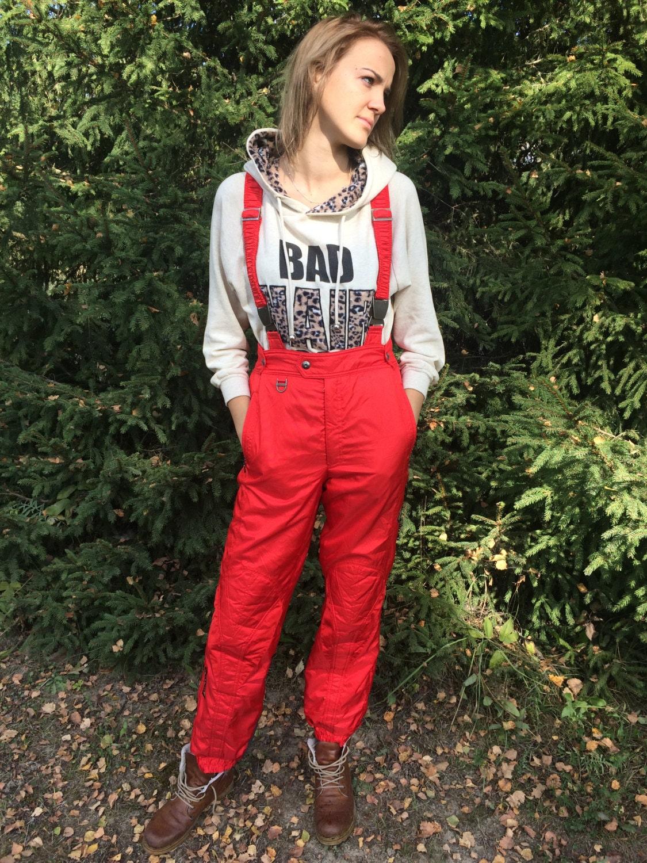 Red Ski Pants Vintage Ski Pants One Piece Ski Suit Overalls