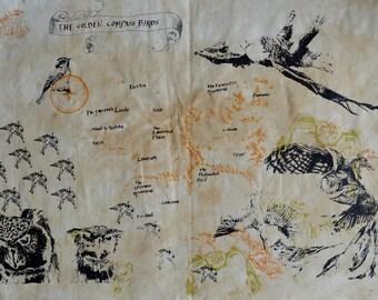 Golden Compass Birds Map, screenprint, edition of 6