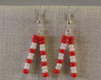 Wisconsin Badgers Glass Bead earrings.