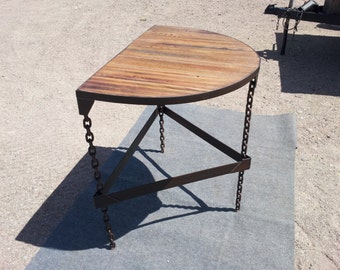 custom handmade table reclaimed log chain and steel.with reclaimed oak wood top