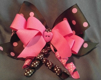 Adorable brown and pink hair bow