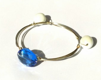 Blue and White Beaded Bangle