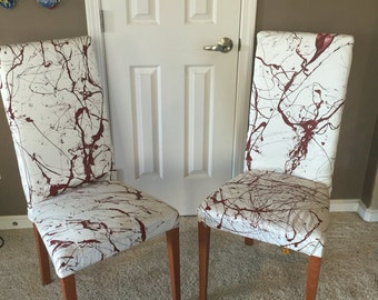 Blood-splatter high back chair.Custom fabric-handmade pattern.Unique style-great gift for that Horror fan in your life.Office/media room.