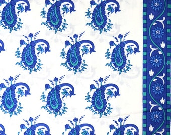 Unique Blue Paisley Block Printed on white Cotton Fabric by the Yard
