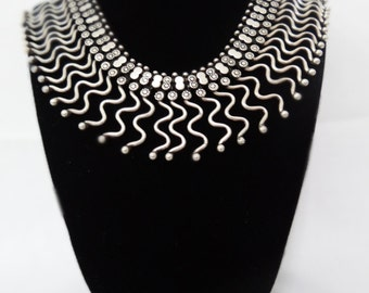 Vintage Oxidized Silver Wave Design Necklace