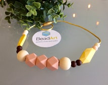 """Silicone teething necklace, Geometric,Leaf and Round Bead,""""Ambre"""",babyshower gift
