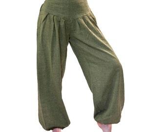 Harem trousers, S - M, cotton harem pants olive