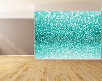 Blue Glitter Custom Wallpaper