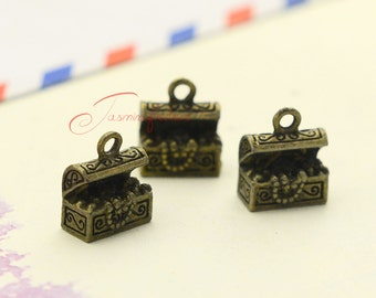 30PCS--12x10mm Treasure Chest Charms, Antique bronze 3D mermaid treasure charm pendant, Jewelry Making LCM0155