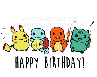 pokemon birthday card, Birthday card