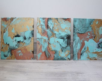 Custom Marbled Painting, Choose your colors and make it your own! 8x10 Set of 3