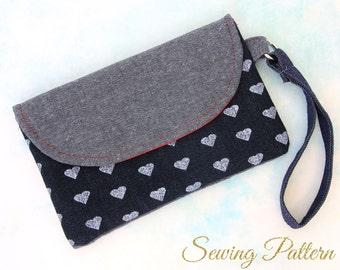 Clutch Purse Pattern, Clutch Pattern, Purse Pattern,  Envelope Clutch Pattern, Wristlet Clutch Pattern, Sewing Pattern PDF, HANDY (B906)