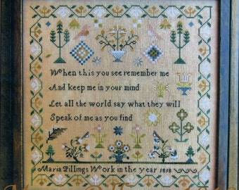 Maria Pillings 1818 Reproduction Sampler by Scarlett House Counted Cross Stitch Pattern/Chart