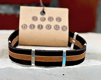 Brown leather bracelet. Man