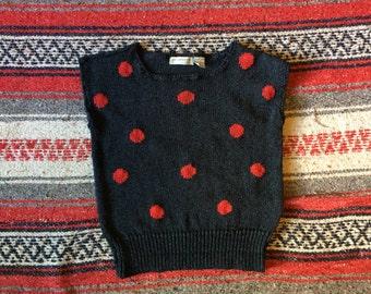 80/90s Polka Dot Sweater Vest