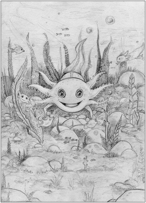 Axolotl coloring page printable from the Alphamals coloring