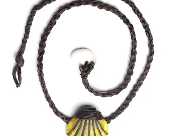 Mens Sunrise Shell Wrapped Necklace