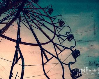 Vintage Carnival Ferris Wheel Print,  Landscape Photography, Wall Art, Carnival Print, County Fair Decor
