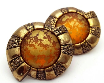 Gold and Orange Round Large Stud Earrings Vintage from the 80s Gold Tone Plastic