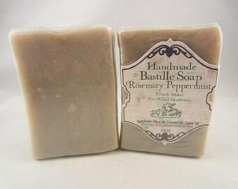 "Handmade ""Bastille Rosemary Peppermint"" Handcrafted Natural Artisan Soap"