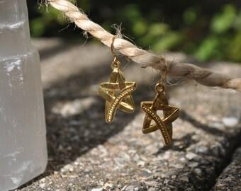Vintage Brass Star Dust Earring Set