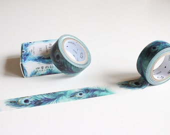 Peacock Feather Washi tape, Beautiful Watercolour Blue Washi Planner Tape (NT-101)