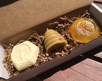 Bees Wax Candle and Honey Soap Gift Box