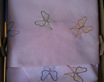 Pram set under, above and pillow case hand embroidered butterflies