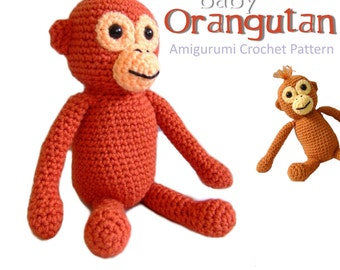 Orangutan baby amigurumi crochet pattern PDF