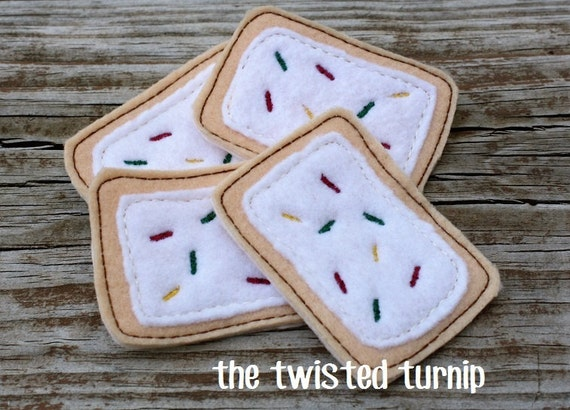 Felt Food Machine Embroidery Design Two Piece Applique Poptart Breakfast Food Pre School Gift Instant Download 5x7 Hoop Gift For Kids